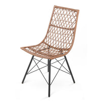 4x Outdoor Dining Chairs Rattan PE Wicker For Garden Patio Café In Natural Tones