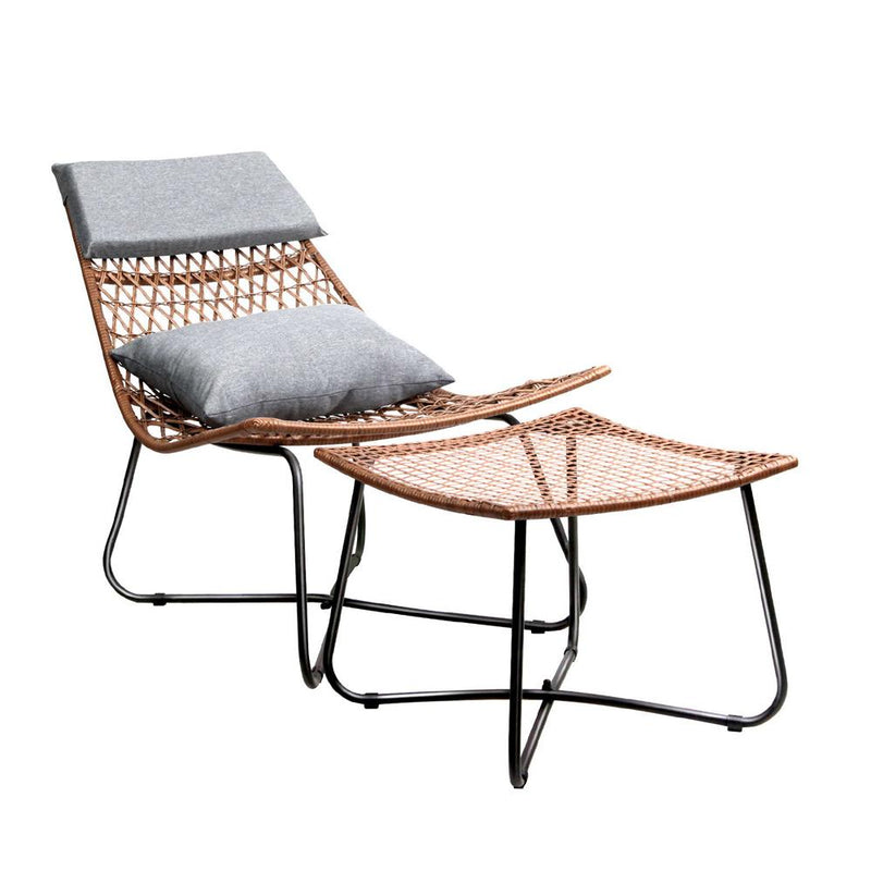 PE Wicker Outdoor Lounge Chair Set - Natural