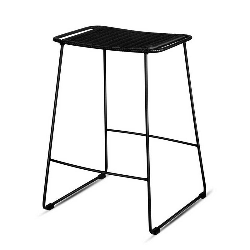 Ser of 2 PE Wicker Backless Bar Stool - Black