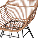 2x Outdoor Dining Chairs Rattan PE Wicker For Garden Patio Café In Brown
