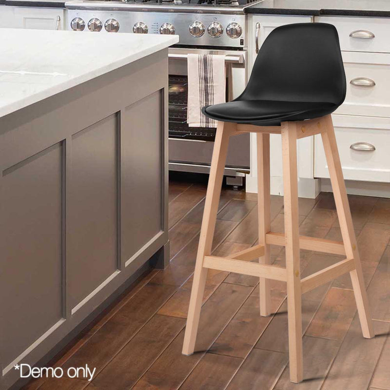 2 X Wood Bar Stools W/ PU Leather Padded Seat Wooden Chair Kitchen Dining Black