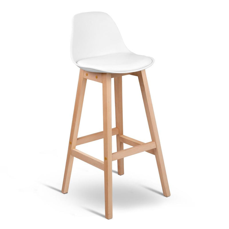 Set of 2 Beech Wood Padded Barstool - White