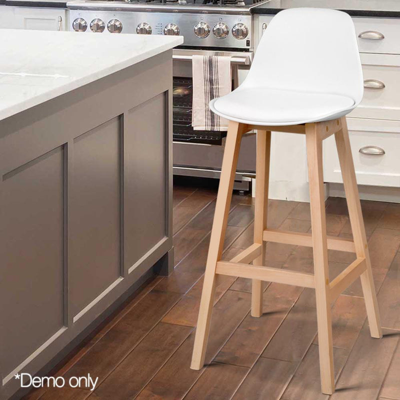 2 X Wood Bar Stools W/ PU Leather Padded Seat Wooden Chair Kitchen Dining White