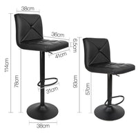 Set Of 2 PU Leather Swivel Bar Stools Gas Lift W/ Cross Back Rest & Plaid Seat Black