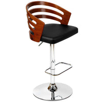 Wooden Bar Stool with PU Leather Seat - Black