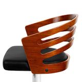Wooden Bar Stools Gas Lift w/ PU Leather Seat for Kitchen Dining Room