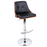 PU Leather Wooden Bar Stool - Black