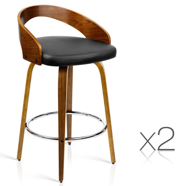 Set of 2 Wooden Bar Stool with Chrome Base- Black