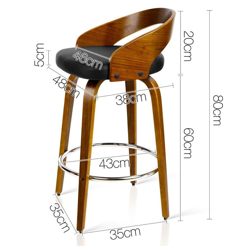 2 X Wooden Bar Stool W/ PU Leather Padded Swivel Seat Dining Kitchen Black