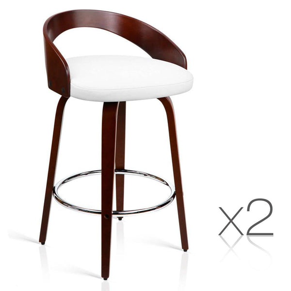 Set of 2 Wooden Bar Stool with Chrome Base- White