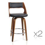 Set of 2 Wooden Bar Stool Swivel Base - Black