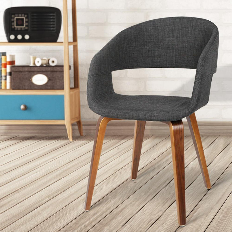 Set Of 2 Evan Dining Chairs Bentwood Series Wooden Timber For Kitchen Cafe Fabric Home Charcoal