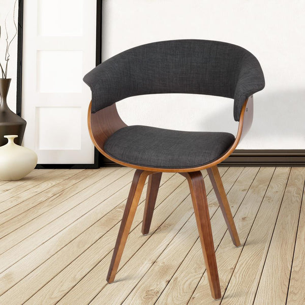 Dining Chair Bentwood Series Wooden Timber for Kitchen Cafe Fabric Charcoal