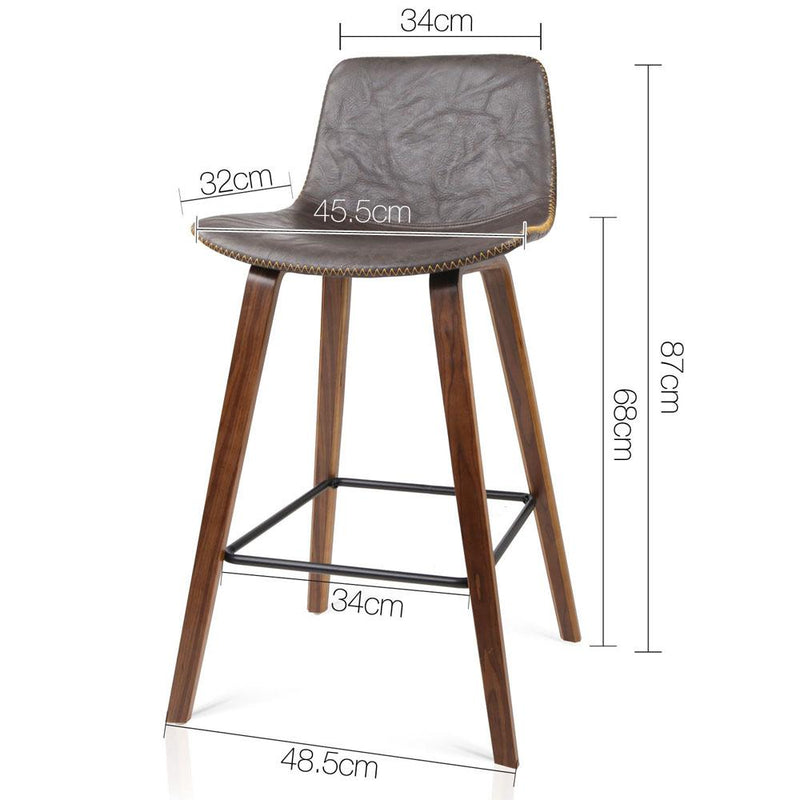 2 X Wooden Bar Stool With PU Leather Foam Padded Seat Dining Kitchen Walnut