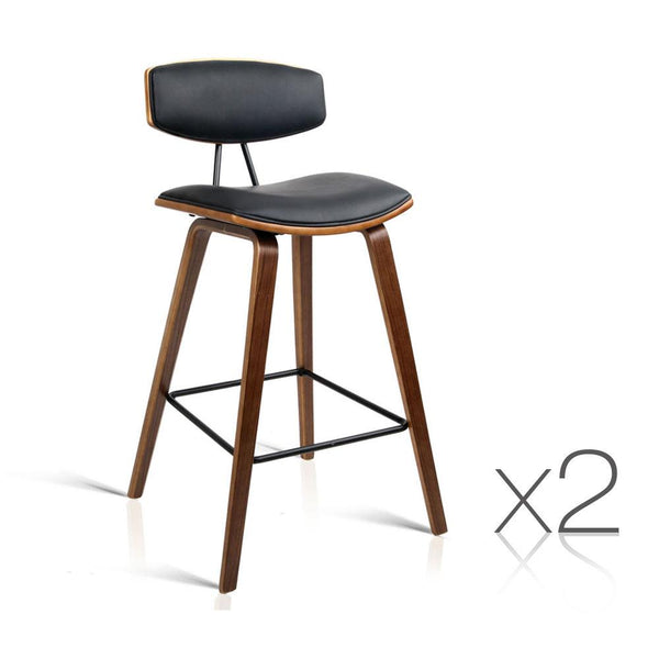 Set of 2 Wooden and Leather Bar Stool - Black