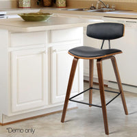 2 X Wooden Bar Stool With PU Leather Foam Padded Seat Dining Kitchen Black