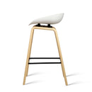 2 X Wooden Bar Stool With PP Plastic Seat Dining Kitchen White