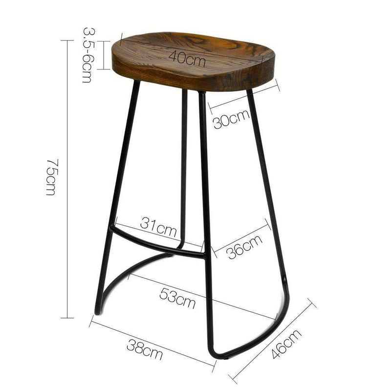 2x Bar Stools Retro Tractor Seat Design Industrial Wire Steel And Elm Wood Seat
