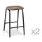 Set of 2 Industrial Wood Backless Bar Stool - Black