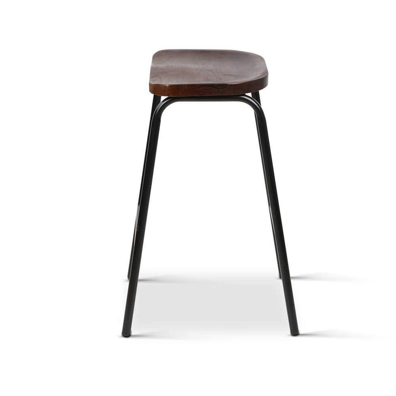2 X Bar Stools Retro Elm Wooden Curved Seat Industrial Wire Steel 66cm
