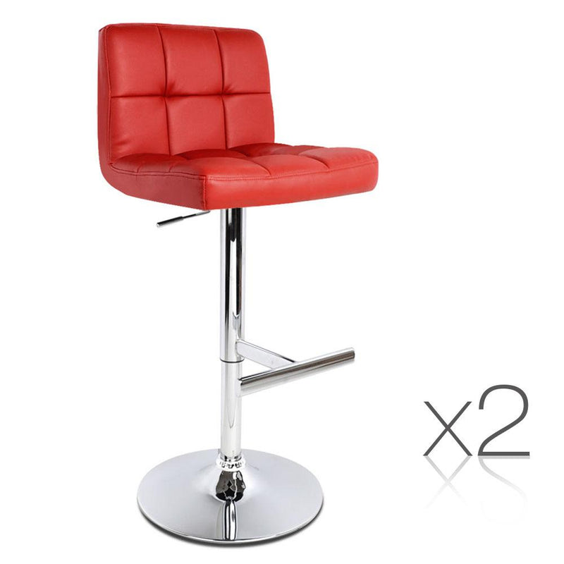 Set of 2 Swivel PU Leather Bar Stool - Burgendy