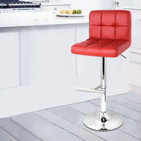 Set Of 2 PU Leather Swivel Grid Bar Stools Gas Lift Red