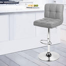Set Of 2 Fabric Swivel Grid Bar Stools Gas Lift For Kitchen Dining Room Grey