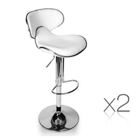 Set of 2 Swivel PU Leather Bar Stool - White