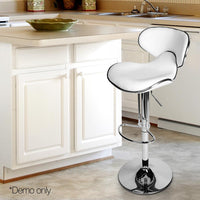 Set Of 2 Faux Leather Swivel Bar Stools For Kitchen Dining Room White