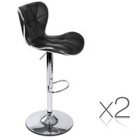 Set of 2 Swivel Leather Bar Stool - Black
