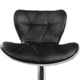 Set Of 2 PU Leather Swivel Kitchen Bar Stools Gas Lift W/ Chrome Footrest Black