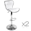 Set of 2 Swivel Leather Bar Stool - White
