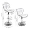 Set Of 2 PU Leather Swivel Kitchen Bar Stools Gas Lift W/ Chrome Footrest White