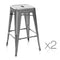 Set of 2 Steel Metal Backless Stool - Metallic Grey