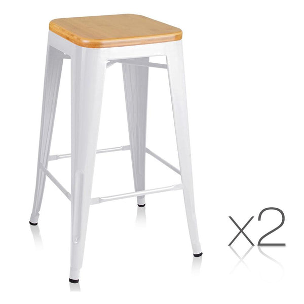 Set of 2 Steel Metal and Bamboo Bar Stool - White