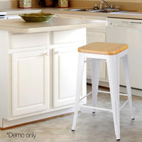 Set Of 2 Bar Stools Industrial Steel W/ Bamboo Seat White 66cm