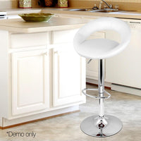 Set Of 2 Faux Leather Swivel Bar Stools For Kitchen Bar Dining Room White