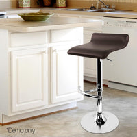 Set Of 2 Bar Stools PU Leather Swivel Kitchen Stools For Kitchen Dining Room Chocolate