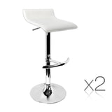 Set of 2 PU Leather Swivel Bar Stool - White