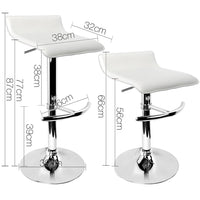Set Of 2 Bar Stools PU Leather Swivel Kitchen Stools For Kitchen Dining Room White