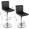 Set Of 2 PU Leather Swivel Padded Bar Stools Gas Lift Black