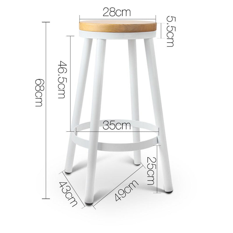 2 X Industrial Bar Stool Stackable Steel Kitchen Bar Chair W/ Wooden Seat 68cm