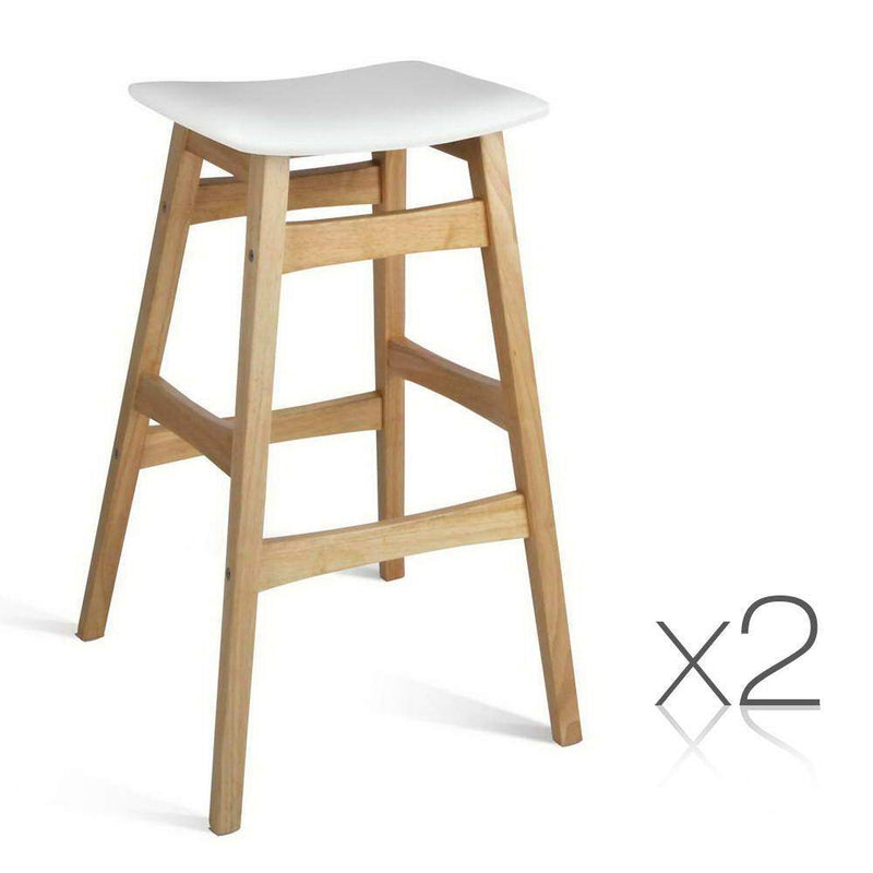 Set of 2 Wooden and Padded Bar Stool - White