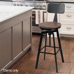 Industrial Bar Stool Dining Chair Retro Elm Wood Seat Backrest