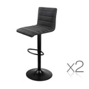 Set of 2 Linen Fabric Bar Stool - Black