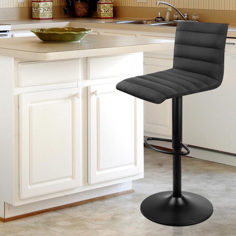Set Of 2 Fabric Swivel Curve Bar Stools Gas Lift Powder Coated Black