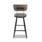 Vintage Industrial Bar Stools Swivel Retro Steel Bar Chair W/ Bamboo Seat Backrest 76cm