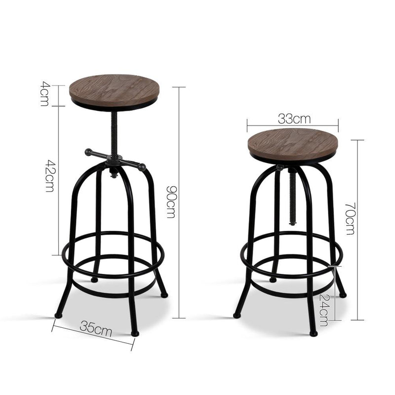 Industrial Bar Stool Dining Chair Retro Elm Wood Seat