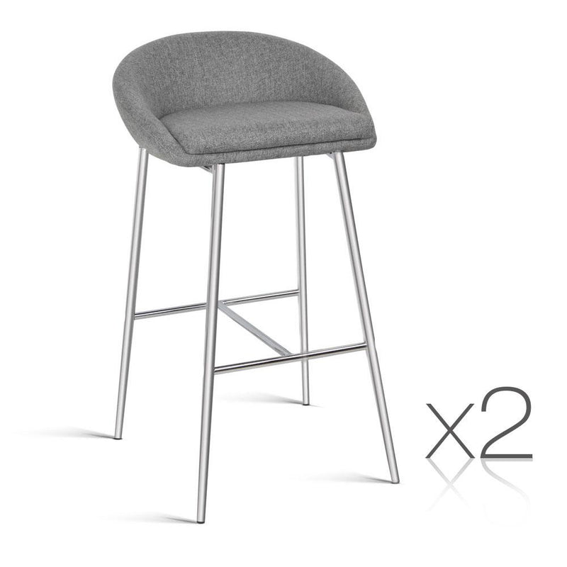 Set of 2 Fabric Bar Stool - Grey