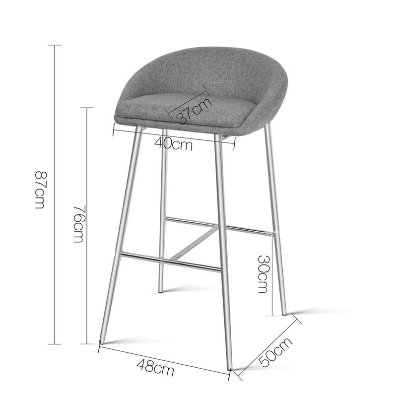 2 X Bar Stool With Fabric Foam Padded Seat Wire Steel Dining Kitchen 76cm
